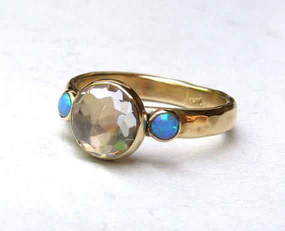 Mariage - Handmade Engagement Ring Similar diamond ring wedding ring Blue Opals Gemstone ,statement, fine 14k gold ring MADE TO ORDER