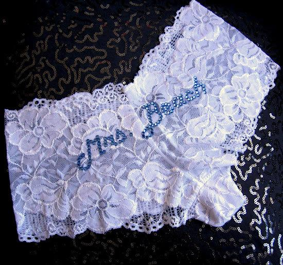 Mariage - White Lace Bridal Panties, Cheeky Custom Bridal Lingerie, Wedding Underwear, Bling Panties, Bride Lace Knickers, Personalized Text Panties