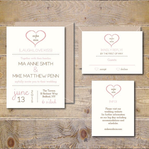 Printable wedding invitations diy wedding invitation invitations pdf jpeg simple heart