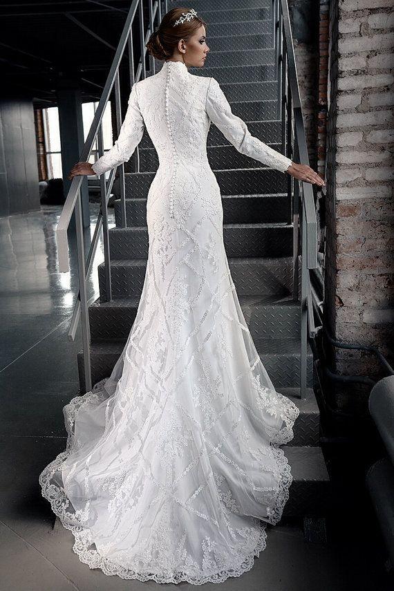 Sexy wedding dress slimming long sleeves wedding dress for Unique wedding dresses with sleeves