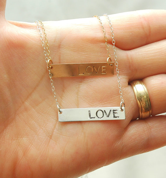 Mariage - Personalized Bar Necklace,Bridesmaids Gift, Engraved Initial Necklace,Bridesmaids Jewelry,Gold Bar Necklace, Silver Name Plate Necklace