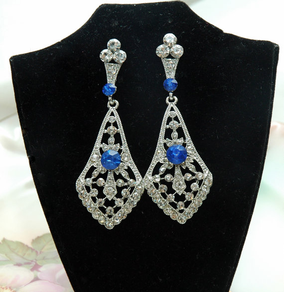 Art Deco Bridal Earrings Something Blue Wedding Bridal Earrings