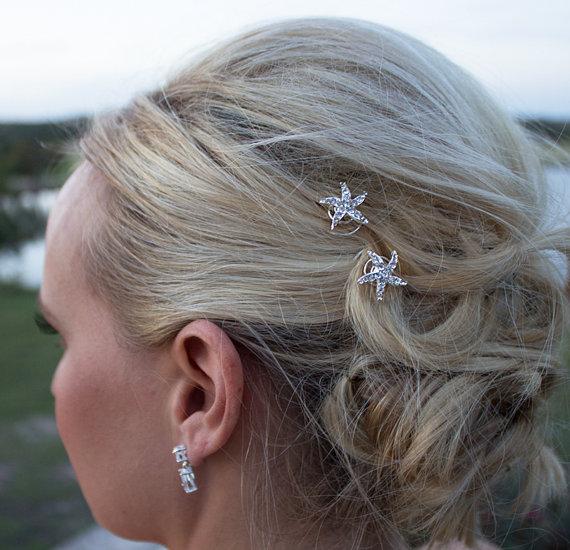 rhinestone starfish wedding hair twist ins set of 6 starfish