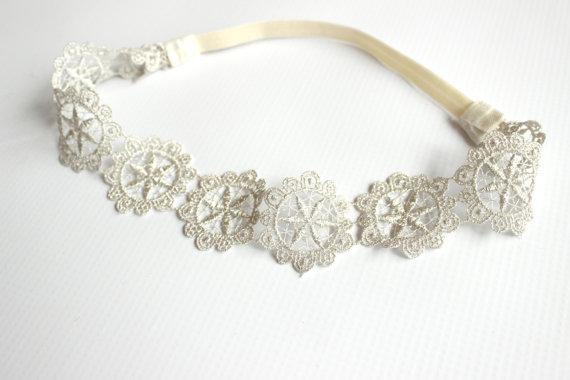 Hochzeit - adult lace headband - silver lace star headband - baby lace headband - newborn lace headband - lace headband wedding -