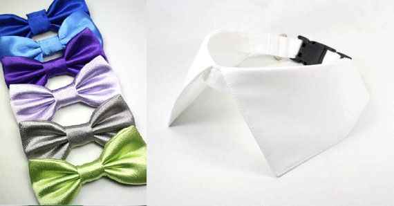 155a09205827 Wedding Dog Collar, White Shirt Collar Satin Bow Tie Set, with D Ring for  Leash Blue Purple Platinum Bowtie
