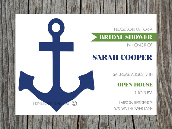 image about Printable Anchor named Printable Bridal Shower Invitation Nautical Anchor Military