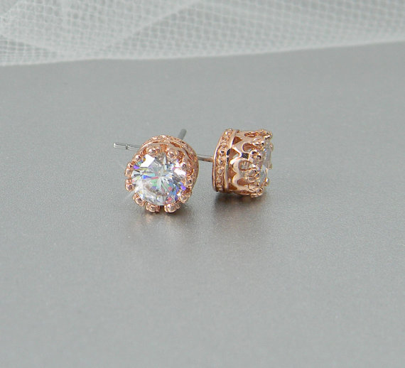 Rose Gold Stud Earrings Bridal Bridesmaids Jewelry Vintage Style Wedding Crystal Filigree