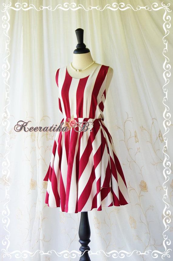 Hochzeit - A Party Dress - V Shape Stripe Dress Cream Burgundy/White Dress Backless Dress Prom Party Dress Vintage Style Bridesmaid Dress Custom Made