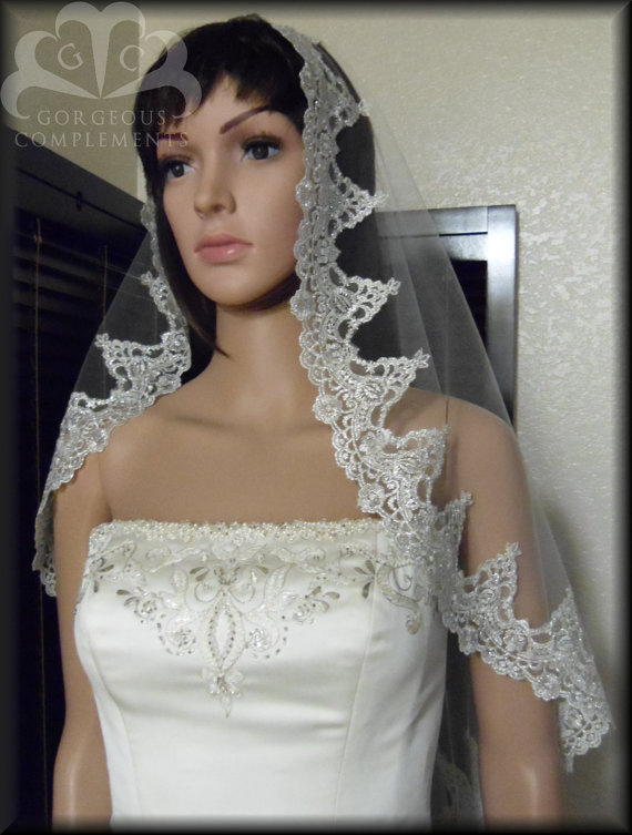 Mariage - Silver Mantilla Bridal Veil Amazing Embroidered Lace