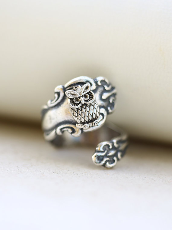 Mariage - Antique Spoon Ring,Jewelry Gift, Bird Ring,Owl Silver Spoon Ring, Ring,Antique Ring,Silver Ring,Wrapped,Adjustable,Bridesmaid.
