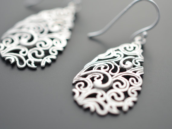 Hochzeit - SALE, Paisley Drop Silver Earrings, Wedding jewelry, Vervain jewelry, Bridal earrings, Mother's gift, Cocktail jewelry, Clip earrings