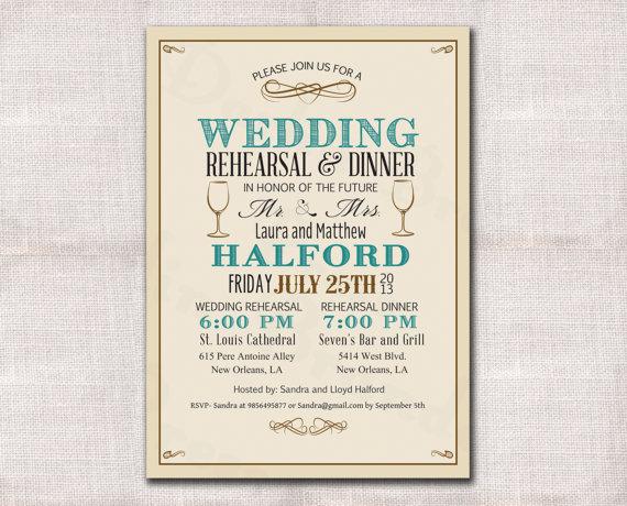 Hochzeit - Wedding Rehearsal Dinner invitation custom printable 5x7