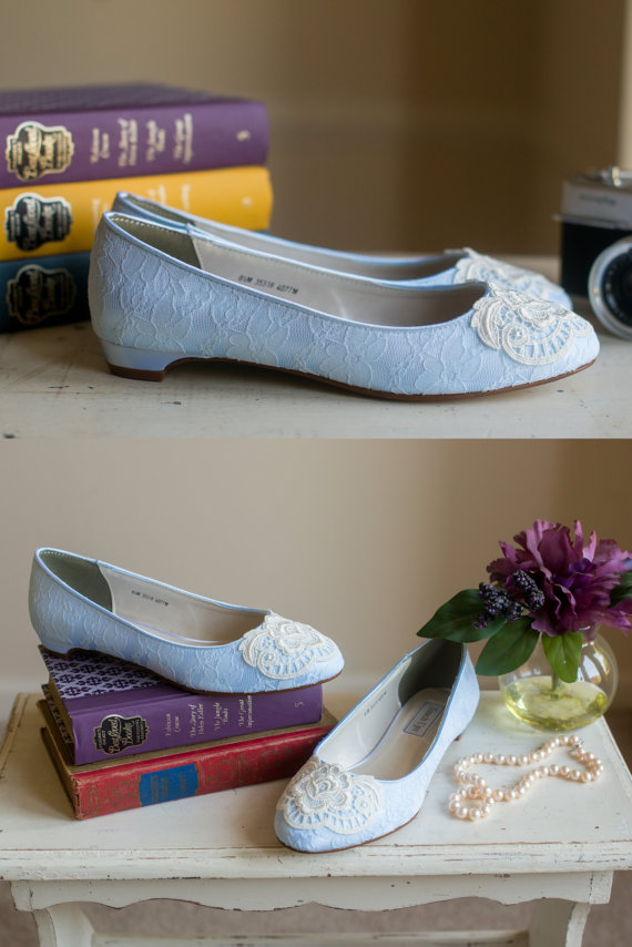 Lace Wedding Ballet Flats Low Heel Short Heel Bridal Shoes