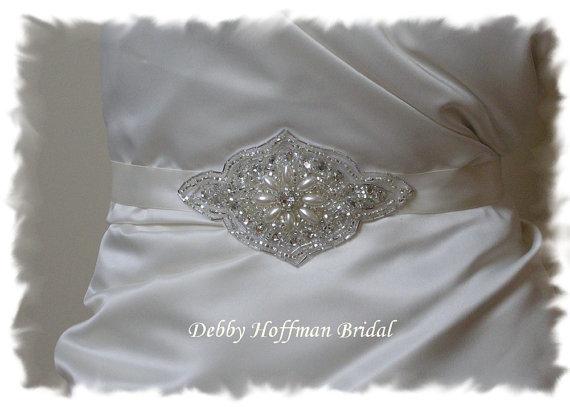 Mariage - Pearl Beaded Rhinestone Bridal Belt, Pearl Wedding Dress Sash, Belt No. 3001S, Pearl Wedding Sash, Bridal Party Accessories, Belts & Sashes