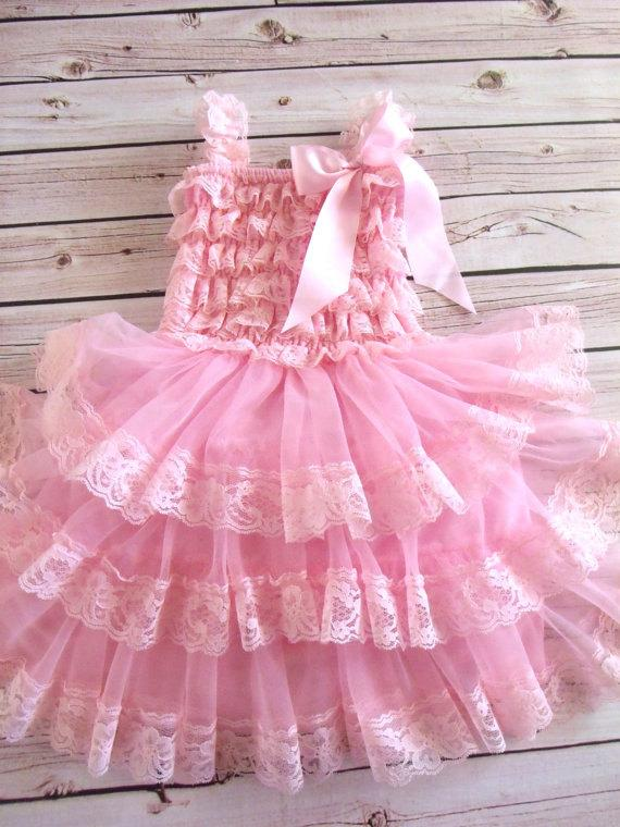 Wedding - Pink Lace Flower Girl Dress, Lace dress,  sleeveless Wedding  Vintage Style Petti Dress Tutu