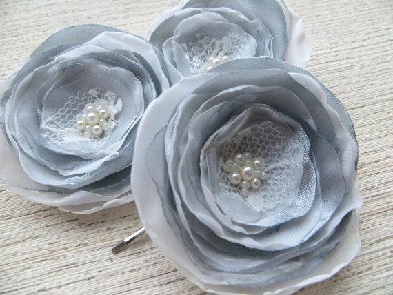 Свадьба - Wedding hair accessories (set of 3), bridesmaid head piece, bridal hairpiece, bridal hair clips, bridal hair accessory, wedding hair flower