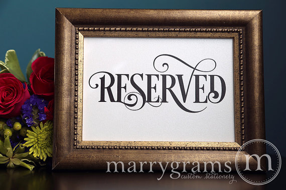 Свадьба - Reserved Sign Table Card - Wedding Reception Seating Signage - Reserved Table Cards - Matching Numbers Available - (Set of 2) - SS06