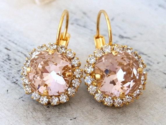 Свадьба - Blush Pink swarovski rhinestone crystal halo drop earrings, Drop earrings, Blush Bridesmaid gifts, Bridal earrings, Dangle earring, weddings