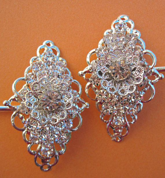 Mariage - Crystal Bobby pins Wedding Hair Pins Bridal accessory Silver rhinestone Hair clip vintage style hair slides