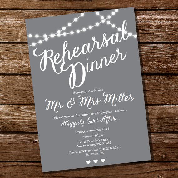 زفاف - Gray Rehearsal Dinner Invitation - Instant Download and Edit with Adobe Reader - Print at Home!