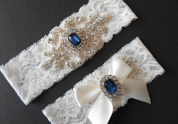 Mariage - Wedding Garter IVORY or WHITE Stretch Lace MONOGRAM Option Bridal Garter Set Gorgeous Crystalsl Lingerie Lace