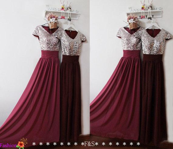 Burgundy Prom Dress Y Evening Formal Sequin Bridesmaid Elegant Modest Spark