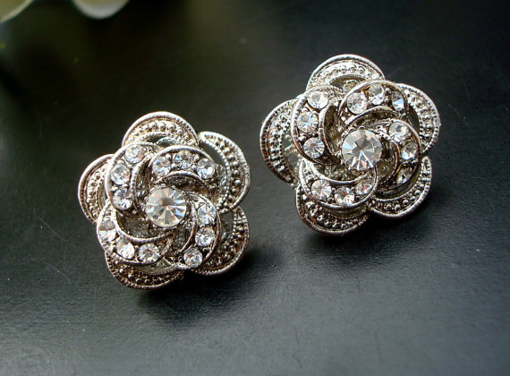 Bridal Wedding Earrings Vintage Weddings Jewelry Party Style Earring Stud Rose Roselani