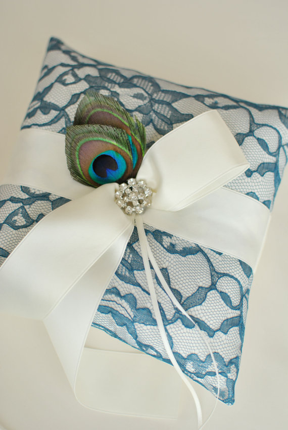 Hochzeit - Ivory and Teal Ring Bearer Pillow - Peacock Feather Ring Pillow - READY TO SHIP