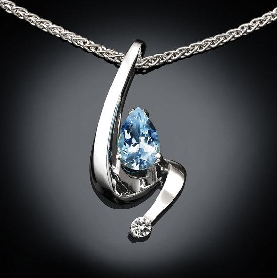 Mariage - aquamarine necklace - March birthstone - white sapphire - blue - wedding - fine jewelry - Argentium silver - eco-friendly - 3380