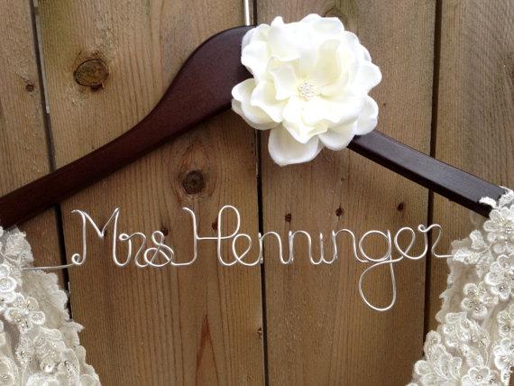 Wedding - Wedding Dress Hanger, Bride Hanger, Bridal Hanger, Personalized Hanger,Bridesmaid Hangers, Bride Gift, Ivory Flower