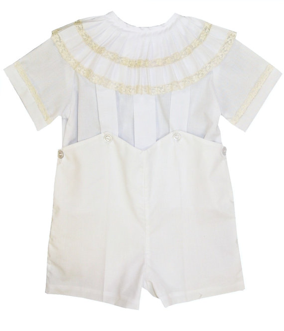 Hochzeit - Heirloom Boy's Button On or Shirt Over Shorts with Lace Pleated Collar pp8004