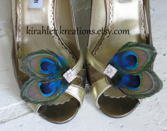 Свадьба - ATREYA Shoe Clips -- Natural Peacock Feathers w/ Blue Plumage & Sparkling Rhinestones, Great for Brides and Bridesmaids Wedding Accessory