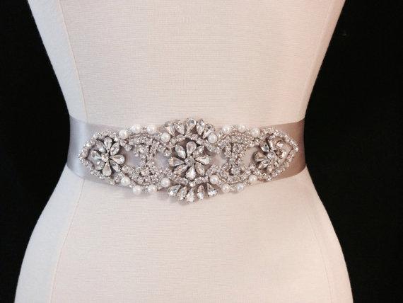 Свадьба - Bridal Sash - Wedding Dress Sash Belt - Taupe Rhinestone and Pearl Wedding Sash - Taupe Rhinestone Bridal Sash