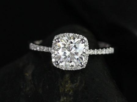 Свадьба - Barra 7mm Cushion Cut 14kt White Gold FB Moissanite and Diamonds Halo Engagement Ring (Other metals and stone options available)