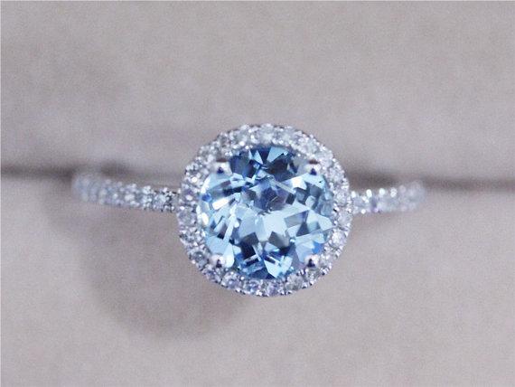 Wedding - 7mm Blue Aquamarine Ring Solid 14K White Gold Round Aquamarine Ring Wedding Ring Diamond Engagement Ring Promise Ring