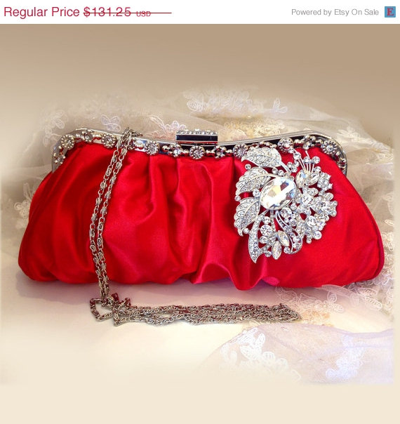 Bridal Clutch Wedding Clutch Crystal Clutch Vintage Inspired Evening Bag Red Clutch Bridal ...