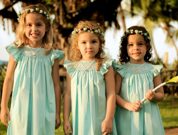 Wedding - Flower Girl Halo AmoreBride Wedding Bridal hair wreath accessories Aqua turquoise floral crown Destination Tropical headband couronne fleur