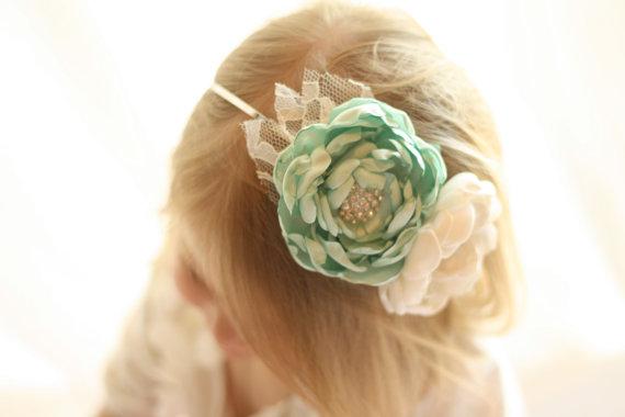 زفاف - Mint and Ivory Flowergirl Headband - Mint Headband - Ivory Headband - Bridesmaid Headband - Mint Flowergirl - Mint Wedding