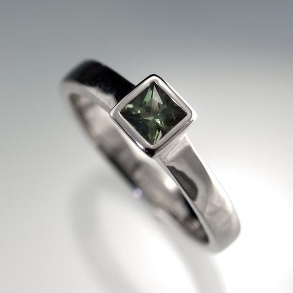Wedding - Green Sapphire Engagement Ring, Princess Cut Bezel Solitaire in Silver/Palladium, Palladium, White Gold, Rose Gold or Yellow Gold