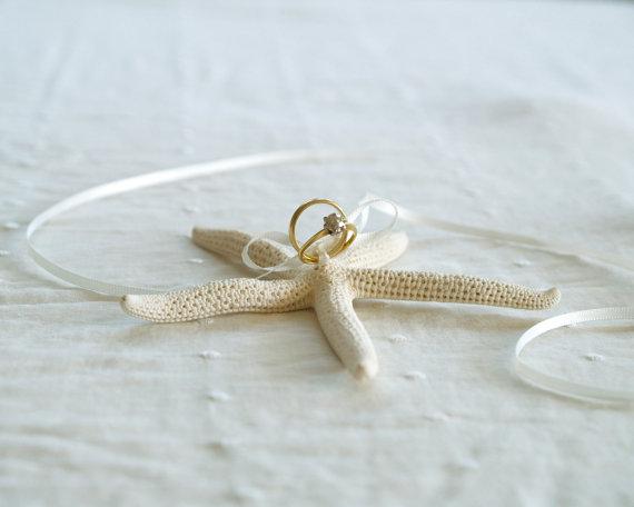 Starfish Wedding Ring Pillow Beautiful White Sea Inspired Ring