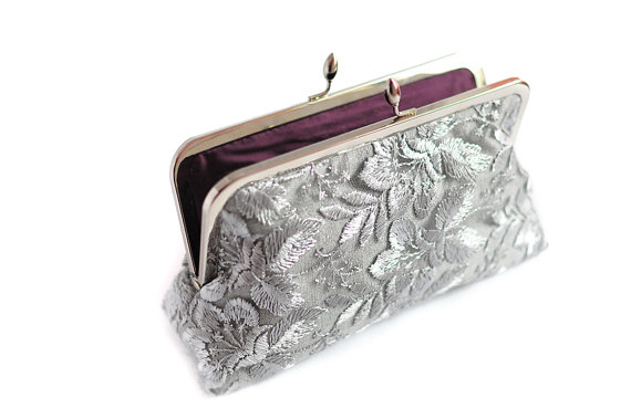 Wedding - Silver and Purple Wedding Purse Clutch Lace Large Size Modern Bridal  Ready to Ship