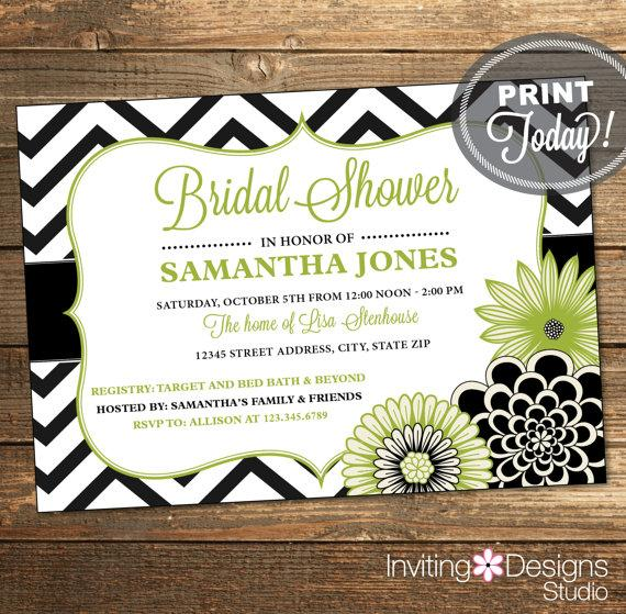 Wedding - Bridal Shower Invitation, Wedding Shower Invitation, Chevron ...