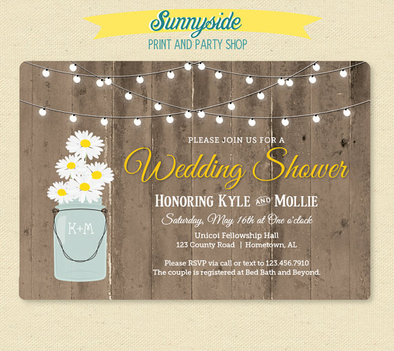 Rustic Daisy Wedding Invitations: Rustic Daisy In Jar Shower Invitation