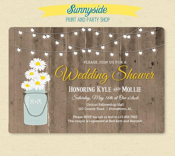 Hochzeit - Rustic Daisy in Jar Shower Invitation - Country Wedding Shower Invitation - Wood & Lights Shower Invite