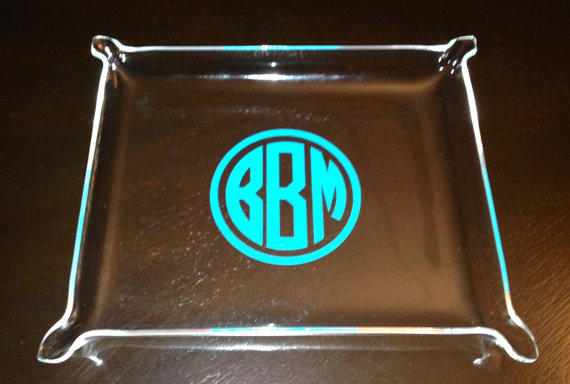 "Mariage - Large Monogram Acrylic Tray  10.5"" x 8.5""  Personalize tray  Name, 3 Initials In Circle Font.  A Great Hostess gift, Bridesmaids, Teacher"