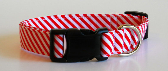 Свадьба - Red and White Stripe Dog Collar Wedding Accessories Christmas Collar Made to Order