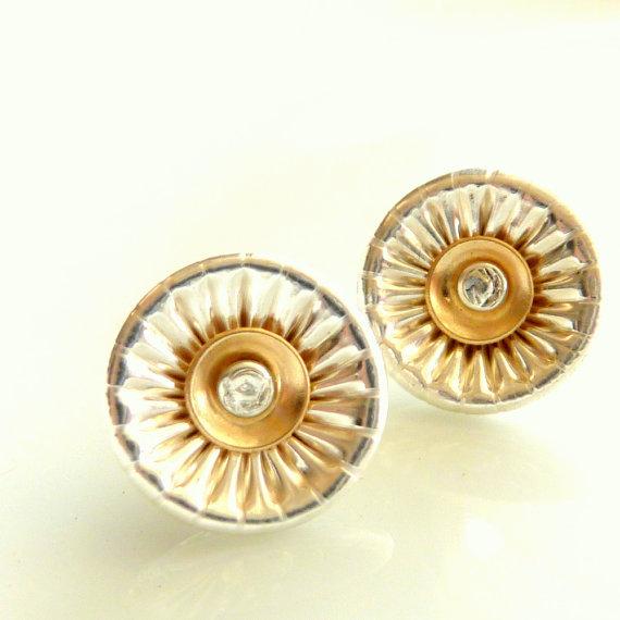 Wedding - Corrugated Silver Post Earrings - Silver And Gold Studs - Versatile Post Earrings - Handmade by Dany B - Wedding Earrings - Venexia Jewelry