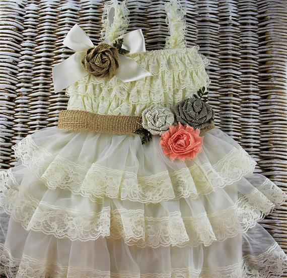 Wedding - Rustic baby dress,Lace Flower Girl dress, Champagne country flower girl dress ready to ship,baby ruffle dress, ivory lace dress rustic girl