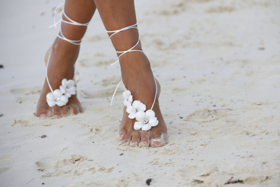 Wedding - Spring flowers  beach wedding barefoot sandals, bangle, wedding anklet,nude shoes