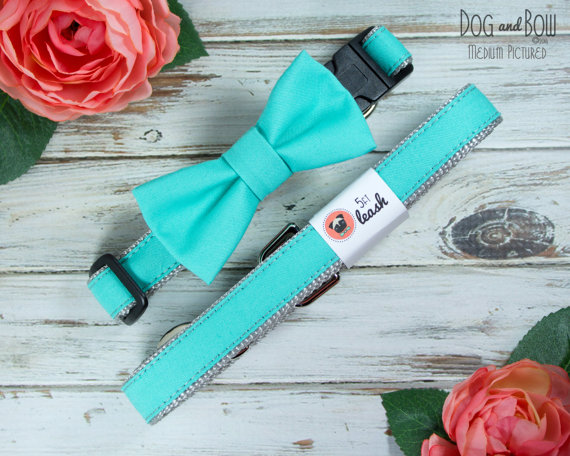 Свадьба - Dog Bow Tie In Tiffany Blue With Options For Dog Collar, Dog Leash I Dog and Bow Wedding